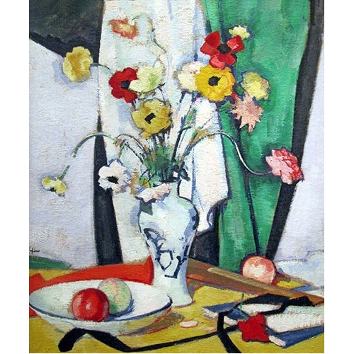 Cuadro Still life with flowers fruit and fan