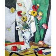 "Cuadro ""Still life with flowers fruit and fan"""