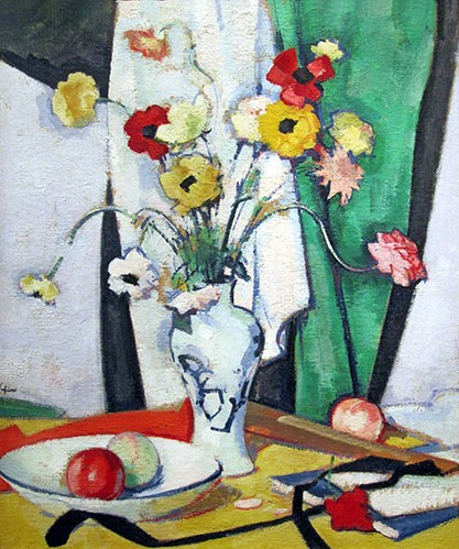 Still life paintings - Still life with flowers fruit and fan - Peplow, Samuel