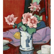 "Cuadro ""Pink Roses, Chinese Vase"""