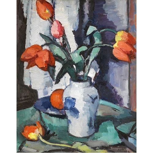 Orange tulips, Chinese Vase