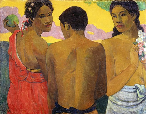 portrait and figure - Tres Tahitianos - Gauguin, Paul
