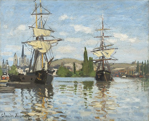 cuadros de marinas - Cuadro Ships Riding on the Seine at Rouen, 1872 - Monet, Claude
