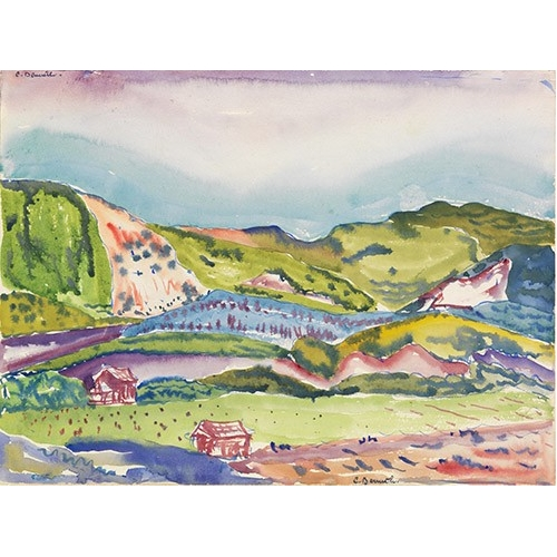 Comprar cuadros modernos - Cuadro Mountain with Red House online - Demuth, Charles