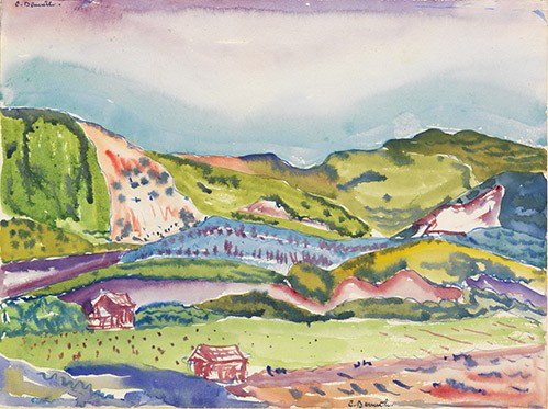 contemporary paintings - Mountain with Red House - Demuth, Charles