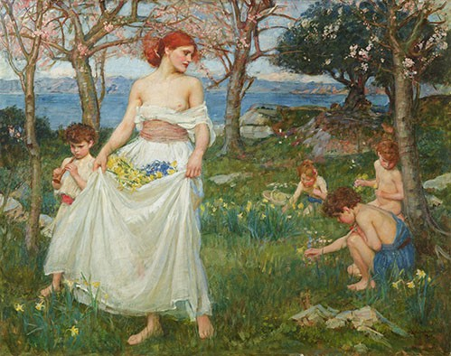 portrait and figure - Le Champ Du Printemps - Waterhouse, John William