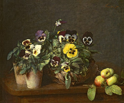 flowers - Still Life with Pansies - Fantin Latour, Henri