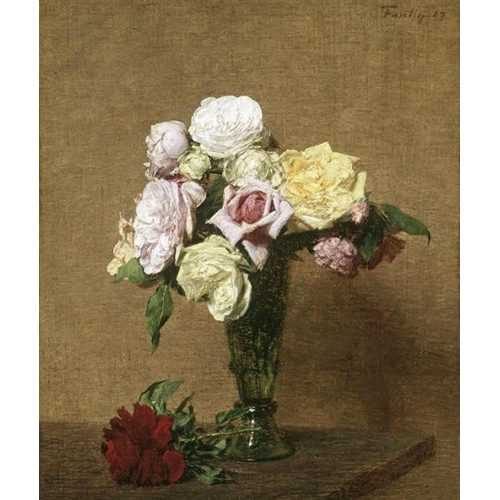 Comprar cuadros de flores - Cuadro Still Life with Roses in a Fluted Vase online - Fantin Latour, Henri
