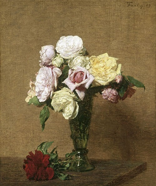 cuadros de flores - Cuadro Still Life with Roses in a Fluted Vase - Fantin Latour, Henri