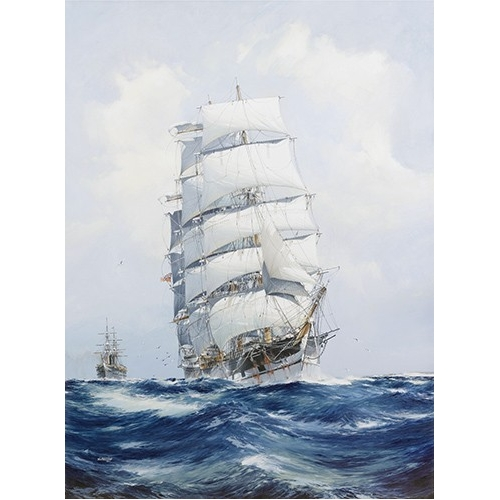 """The square-rigged wool clipper under full sail"""