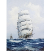 The square-rigged wool clipper under full sail