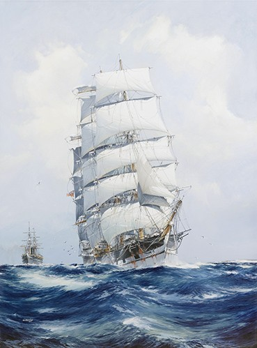 seascapes - The square-rigged wool clipper under full sail - Spurlng, J.