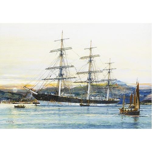 Comprar  - Cuadro The square-rigged Australian clipper -Old Kensington- lying on  online - Spurlng, J.