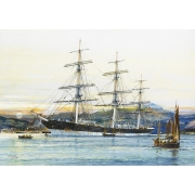 The square-rigged Australian clipper -Old Kensington- lying on