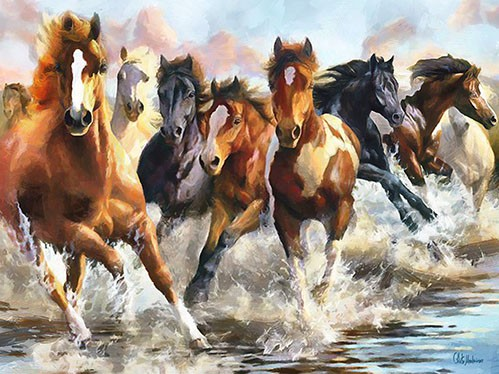 contemporary paintings - Moderno CM10750 (caballos) - Medeiros, Celito
