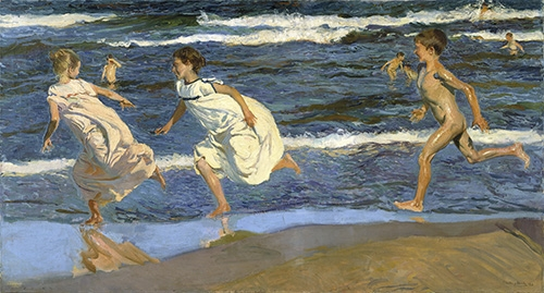 portrait and figure - Picture Running on the beach - Sorolla, Joaquin