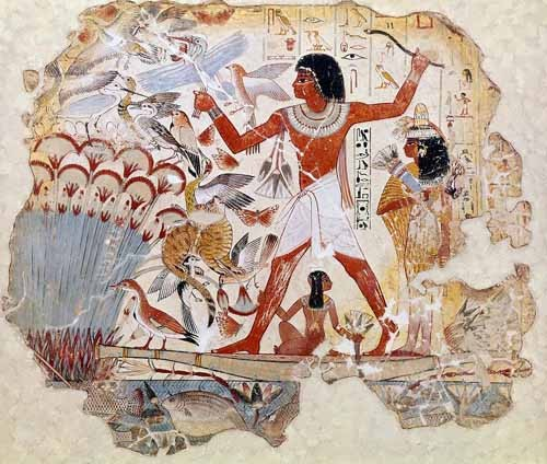ethnic and oriental paintings - Fresco en Thebes,- Casa de pajaros- - _Anónimo Egipcio