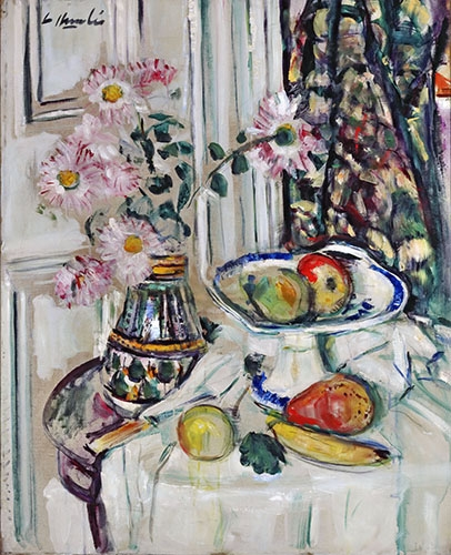 Still life paintings - Still life with daisies and fruit - Hunter, G.L.