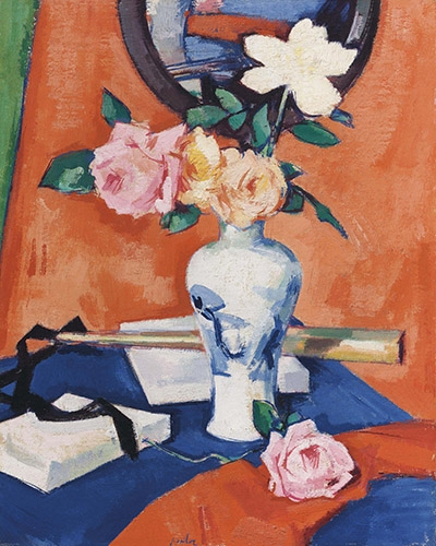 Comprar cuadros de flores - Cuadro Roses in a vase against an orange background online - Peplow, Samuel