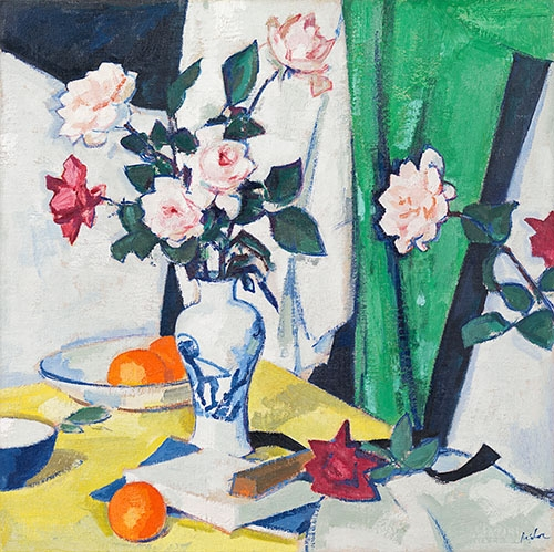 Still life paintings - Pink and red roses in a Chinese vase - Peplow, Samuel