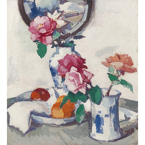 """Still life with roses and fruit"""
