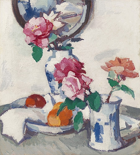 cuadros de bodegones - Cuadro Still life with roses and fruit - Peplow, Samuel