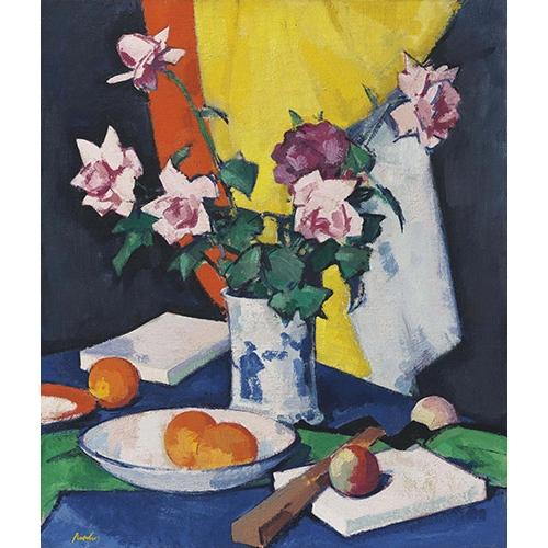 "Cuadro ""Red and pink roses, oranges and fan"""
