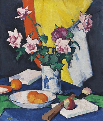 Still life paintings - Red and pink roses, oranges and fan - Peplow, Samuel