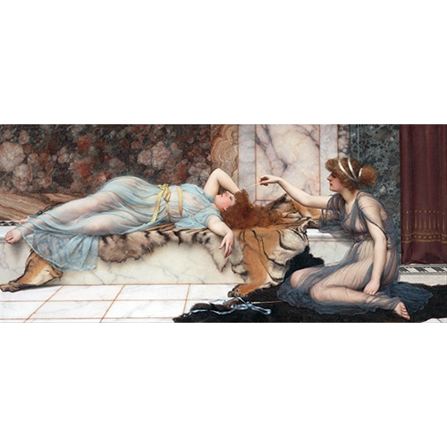 Comprar cuadros de retrato - Cuadro Mischief and Repose online - Godward, John William