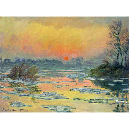 Cuadro Sunset on the seine in winter lac