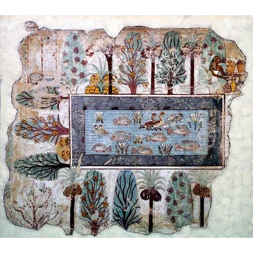 Comprar ethnic and oriental paintings - Fresco en Thebes,- Estanque en un jardin - online - _Anónimo Egipcio