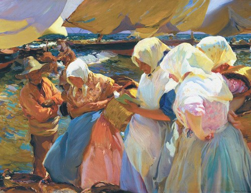 portrait and figure - Valencianas en la playa - Sorolla, Joaquin