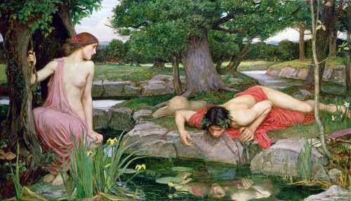 cuadros de retrato - Cuadro Eco y Narciso - Waterhouse, John William