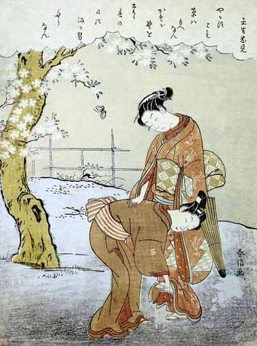 ethnic and oriental paintings - Mujer y su doncella - Harunobu, Suzuki