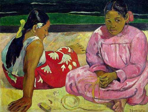 portrait and figure - Mujeres de Tahití en la playa - Gauguin, Paul