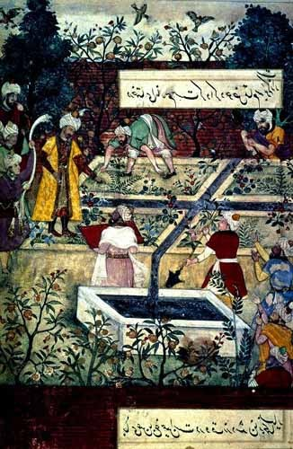 ethnic and oriental paintings - Memorias de Babur, Emperador con su proyecto - Mughal