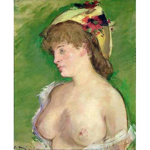 Comprar cuadros de desnudos - Cuadro The Blonde with Bare Breasts online - Manet, Eduard