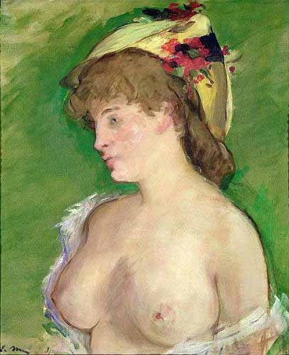 portrait and figure - The Blonde with Bare Breasts - Manet, Eduard