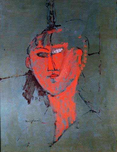 portrait and figure - La cabeza roja - Modigliani, Amedeo