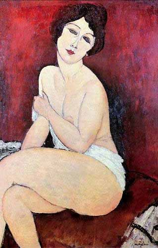 "cuadros de retrato - Cuadro ""Large Seated Nude"" - Modigliani, Amedeo"