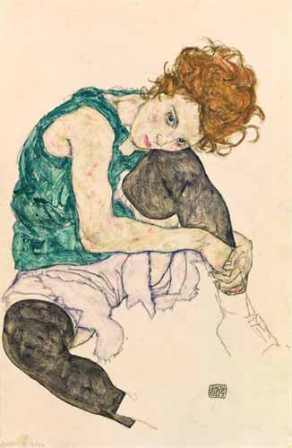 Comprar portrait and figure - Seated Woman with Bent Knee online - Schiele, Egon