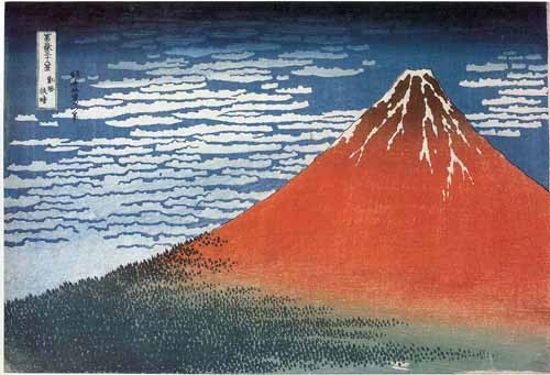 ethnic and oriental paintings - Red Fuji II - Hokusai, Katsushika
