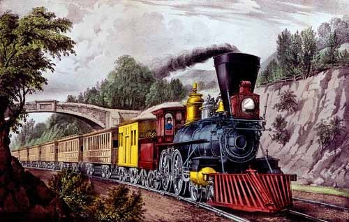 maps, drawings and watercolors - Tren rápido - Currier Nathaniel y Ives James