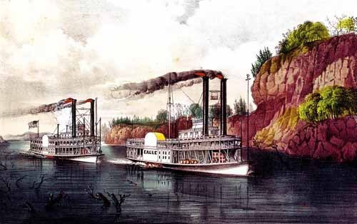 maps, drawings and watercolors - Carrera de barcos de vapor en el Mississipi - Currier Nathaniel y Ives James