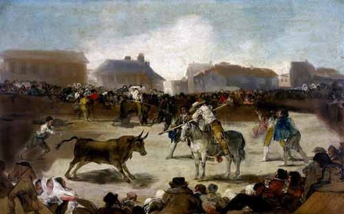 maps, drawings and watercolors - Toros en un pueblo - Goya y Lucientes, Francisco de