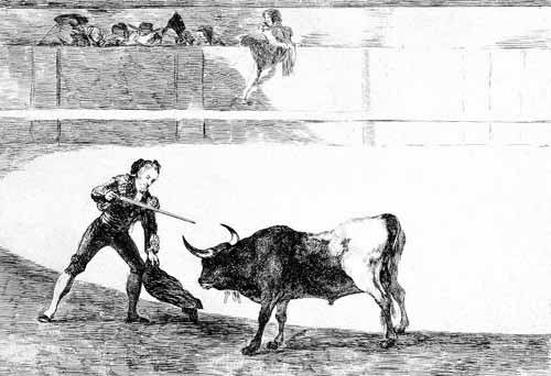 maps, drawings and watercolors - Tauromaquia num.30: Pedro Romero matando a toro parado - Goya y Lucientes, Francisco de
