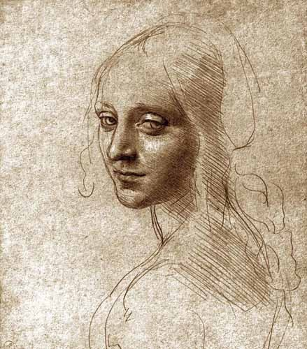 maps, drawings and watercolors - Angel face of the Virgin of the Rocks - Vinci, Leonardo da
