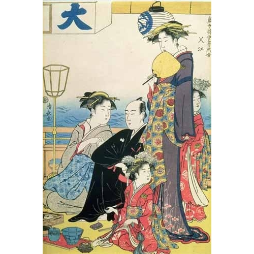 Comprar ethnic and oriental paintings - Women of the Gay Quarters (right hand panel of diptych) online - Kiyonaga, Torii
