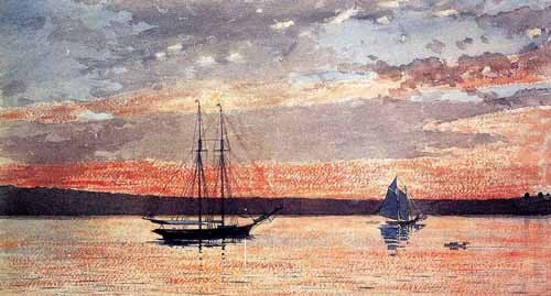 maps, drawings and watercolors - Atardecer en Gloucester - Homer, Winslow