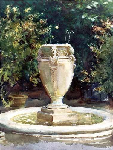 maps, drawings and watercolors - Vase Fountain Pocantico - Sargent, John Singer